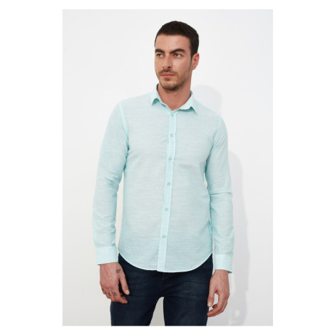 Trendyol Mint Men's Slim Fit Shirt Collar Striped Shirt