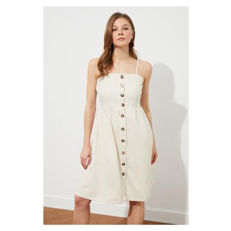 Trendyol Beige Front Buttoned Strappy Denim Dress