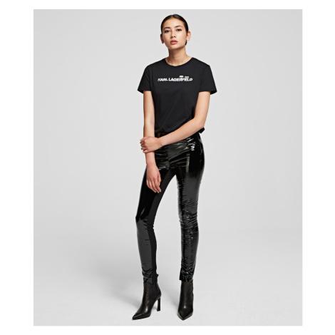 Kalhoty Karl Lagerfeld Karl Faux Patent Leggings - Černá