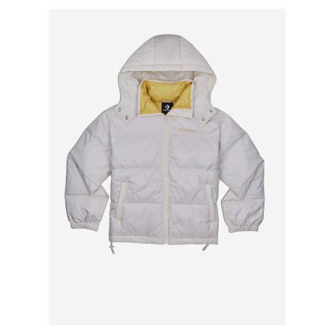 Krémová dámská prošívaná zimní bunda s kapucí Converse Waist Length Down Jacket