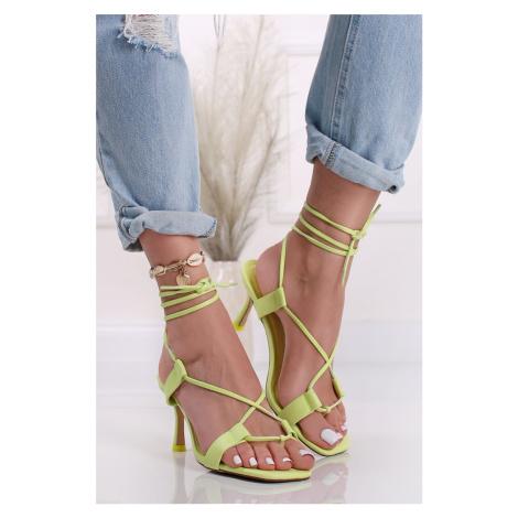 Světlezelené šněrovací sandály na tenkém podpatku Lust City Shoes