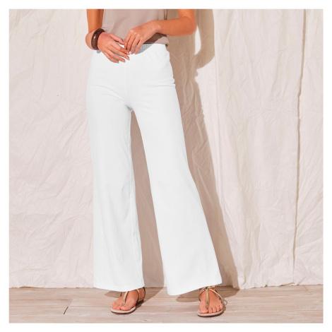 Blancheporte Široké kalhoty z úpletu bílá