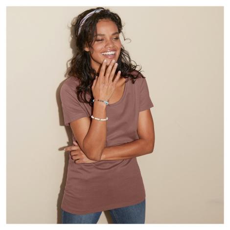 Blancheporte Jednobarevné tričko s kulatým výstřihem kaštanová