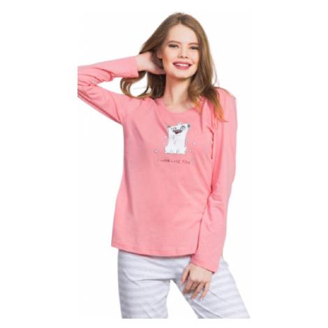 Dámské pyžamo dlouhé Vienetta Secret I like you   lososová