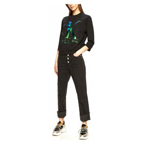 Calvin Klein Calvin Klein dámská černá mikina s metalickým logem CK IRIDESCENT MONOGRAM CREW NEC