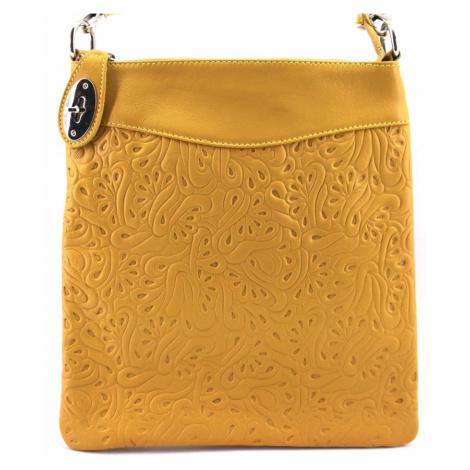 Dámská kožená kabelka crossbody Arteddy - hořčicová