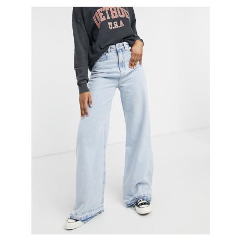 Stradivarius 90s super wide leg jeans in light blue