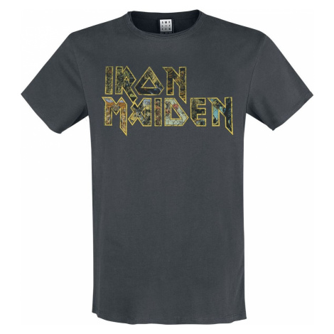 Iron Maiden Amplified Collection - Eddies Logo tricko charcoal