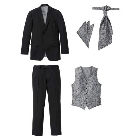 Oblek (5dílná souprava): sako, kalhoty, vesta, plastron, kapesníček