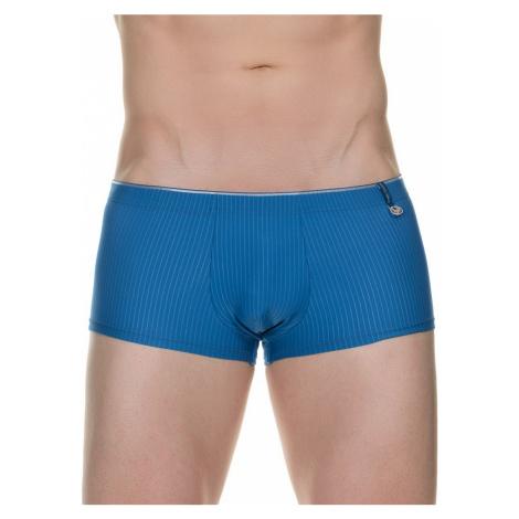 BRUNO BANANI modré boxerky s jemným proužkem Hipshort Scroll