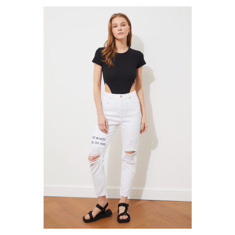 Trendyol White Ripped Detailed Printed High Waist Mom Jeans