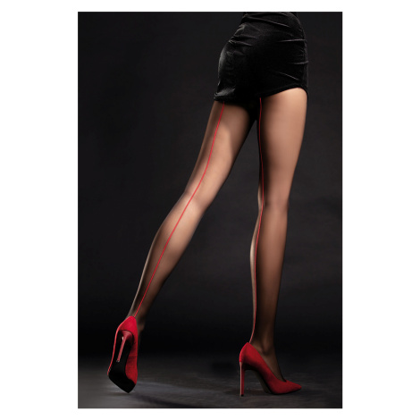 Černo-červené punčochy Unique 20DEN Fiore