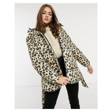 Pieces padded coat with hood in leopard-Multi