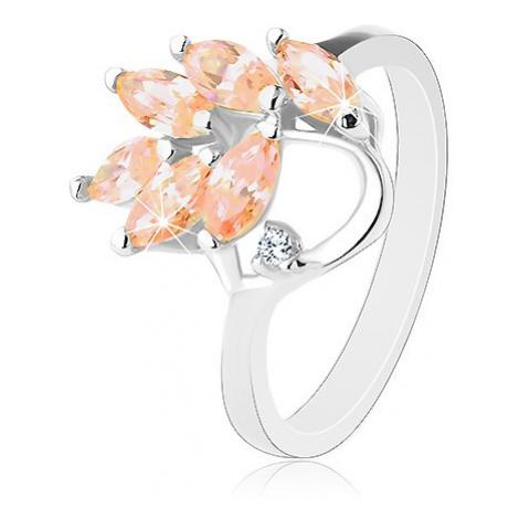 Prsten s lesklými rameny, světle oranžové zirkonové lístky na větvičce Šperky eshop