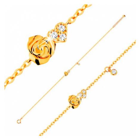 Náramek ze žlutého 14K zlata - růžička a čiré zirkonové srdce, 185 mm Šperky eshop