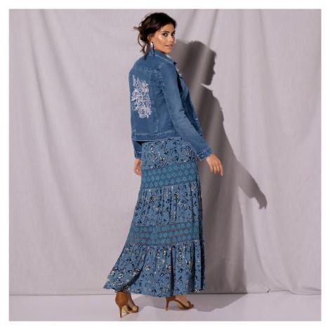 Blancheporte Džínová bunda s výšivkou sepraná modrá