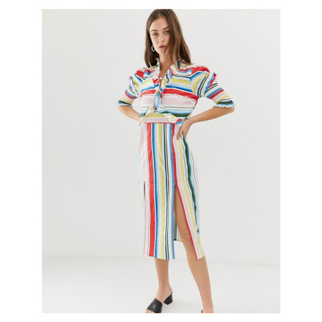 Vero Moda Stripe Midi Dress With Side Splits