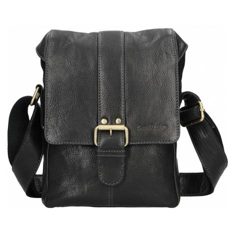Panská kožená taška přes rameno SendiDesign Pier - černá Sendi Design