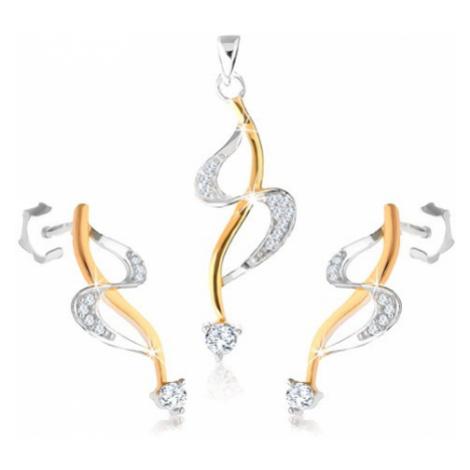 """Stříbrné náušnice a přívěsek 925, linie """"S"""", vlnka ve zlatém odstínu, zirkony Šperky eshop"""