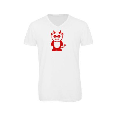 Pánské triko s výstřihem do V Panda čertík