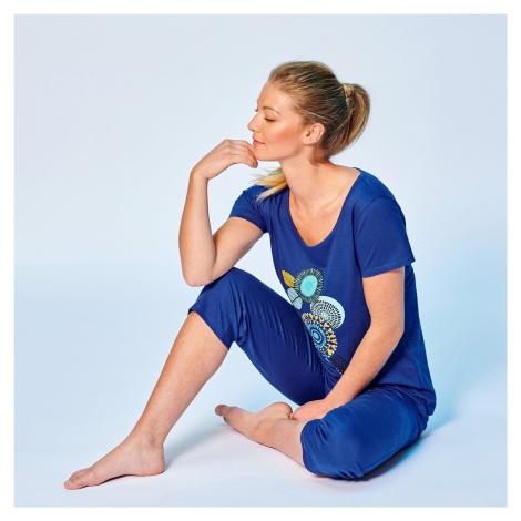 Blancheporte Pyžamo se 3/4 kalhotami a motivem rozet modrá