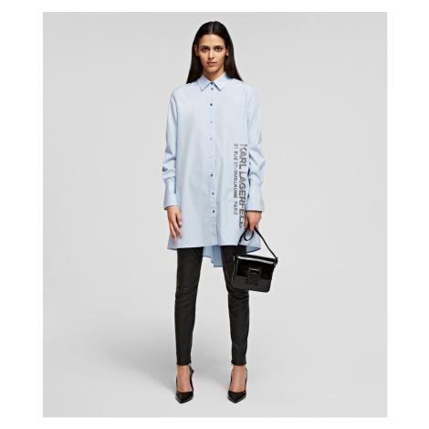 Košile Karl Lagerfeld Embellished Poplin Tunic Shirt - Modrá