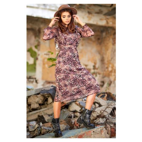 Vzorované průhledné šaty pod kolena z italského šifónu