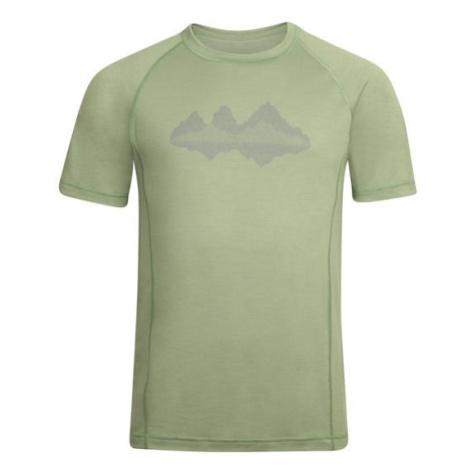 ALPINE PRO Merin 3 Zelená / Tyrkysově Zelená Pánské triko z merino vlny MTST476587PB