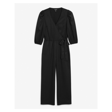Monki Tia jersey wrap jumpsuit in black