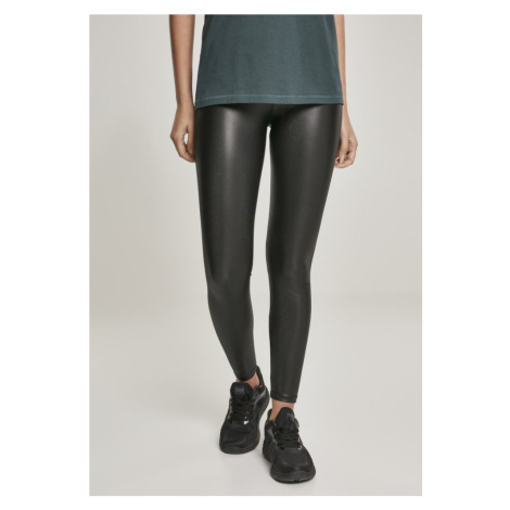 Ladies Faux Leather High Waist Leggings - black Urban Classics