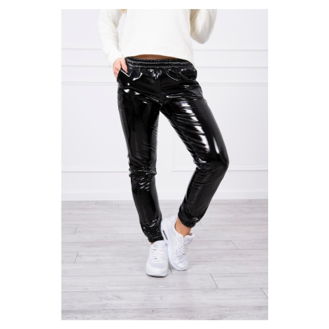 Double-layer trousers with velor black Kesi