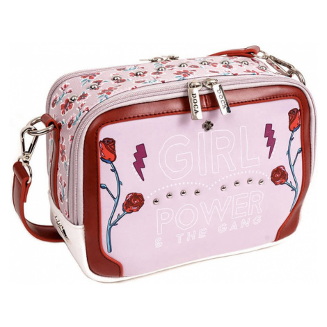Růžovo-bílá oboustranná kabelka – Girl Power Cross Body D . . A