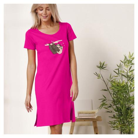 Blancheporte Krátká noční košile s motivem lenochodů fuchsie