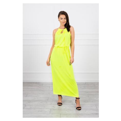 Boho dress with fly yellow neon Kesi