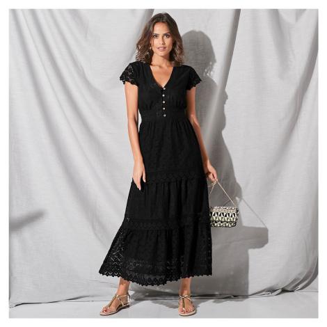 Blancheporte Dlouhé šaty s krajkou a macramé černá