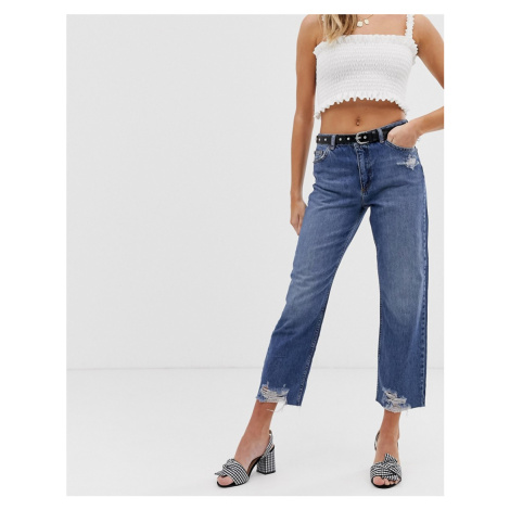 Miss Selfridge recycled denim straight leg jeans with ripped hem in mid wash-Blue
