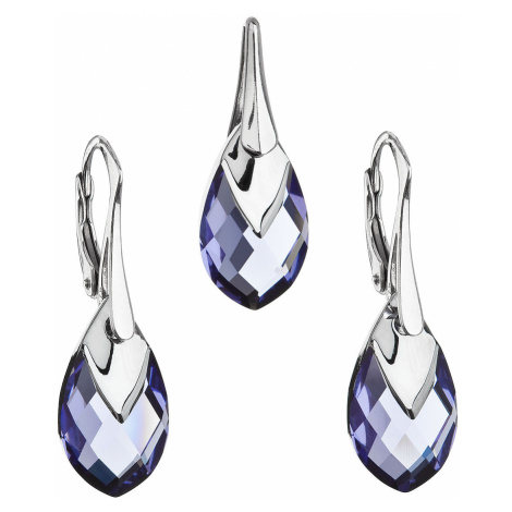 Evolution Group Sada šperků s krystaly Swarovski náušnice a přívěsek fialová slza 39169.4 tanzan
