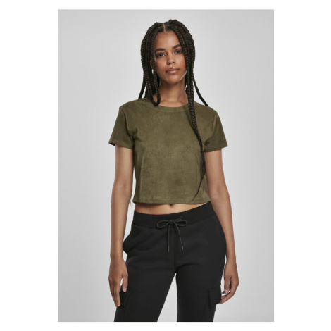 Ladies Cropped Peached Rib Tee - olive Urban Classics