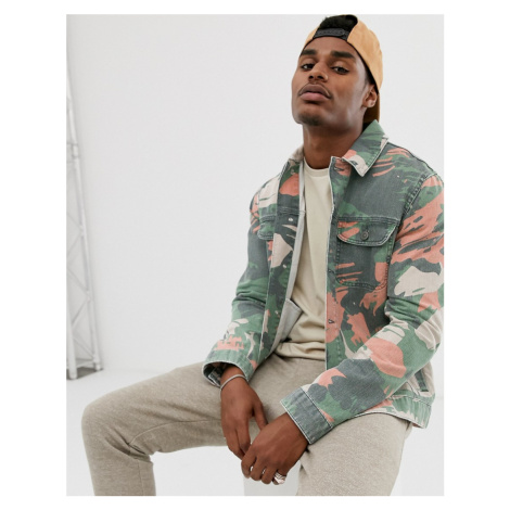 ASOS DESIGN denim jacket in camo print-Green