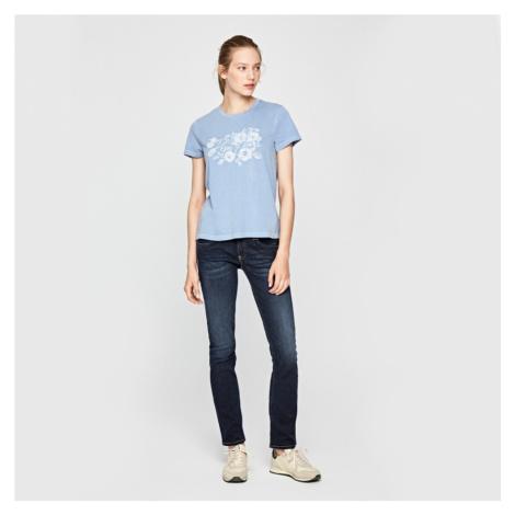 Pepe Jeans dámské modré vyšívané tričko