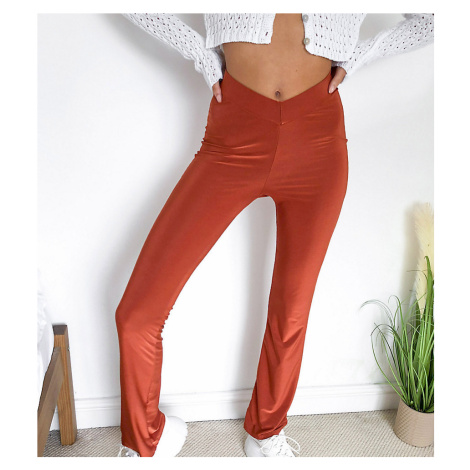 COLLUSION dipped waist disco flares in rust-Brown