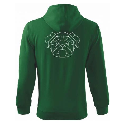 Mops - Geometrie - jednoduchý - Mikina s kapucí na zip trendy zipper