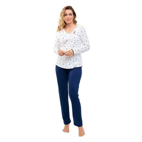 Dámské pyžamo Lila bílé s puntíčky Cana
