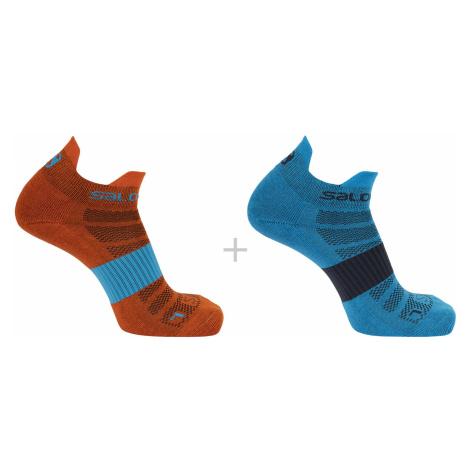 Ponožky Salomon SENSE 2-PACK - modrá/oranžová
