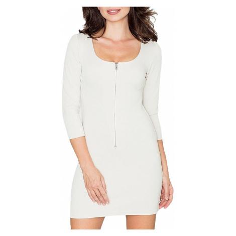 Béžové mini šaty se zipem Katrus