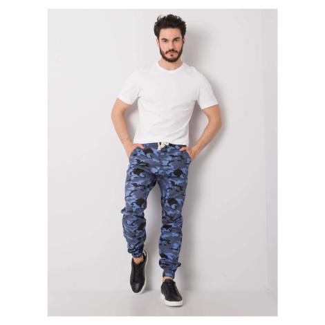 Modré pánské kalhoty s vojenskými vzory FPrice