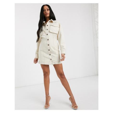 ASOS DESIGN denim structured shirt dress in ecru-White
