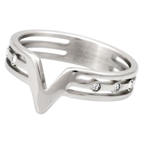 Linda's Jewelry Prsten V jako Véčko Simple chirurgická ocel IPR037 Velikost: 54