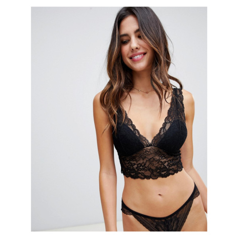 Lindex Emelie Lace Padded Bralette in black-Red