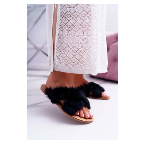 Women's Slides With Fur Lu Boo Black Pimmer Kesi